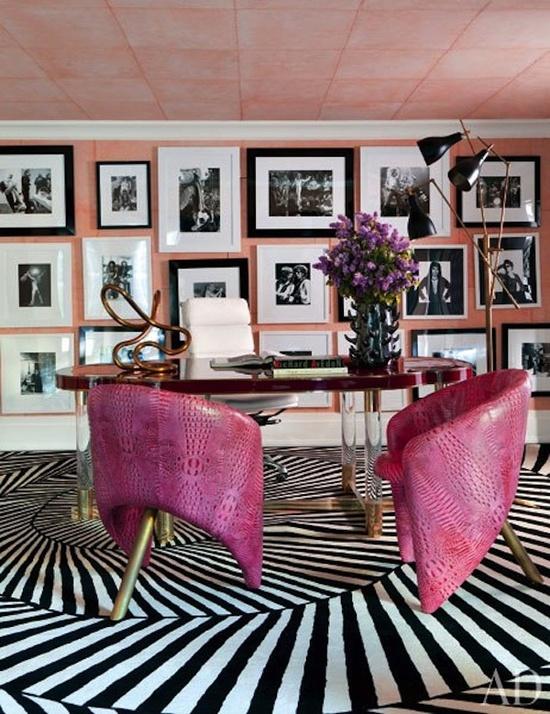 Feminine Desk with Zebra Rug
