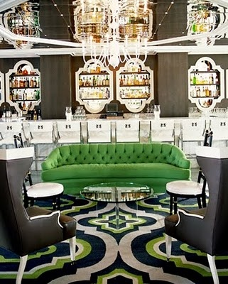 Tufted Emerald Velvet Sofa | Viceroy Hotel Santa Monica